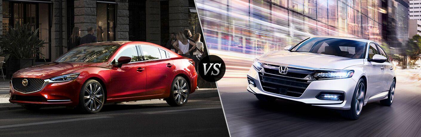Red 2018 Mazda6 on a City Street vs White 2019 Honda Accord on a City Street