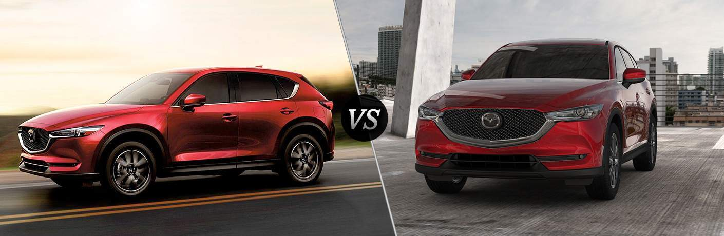 Red 2018 Mazda CX-5 Side Exterior on Highway vs Red 2017 Mazda CX-5 Front in Parking Structure