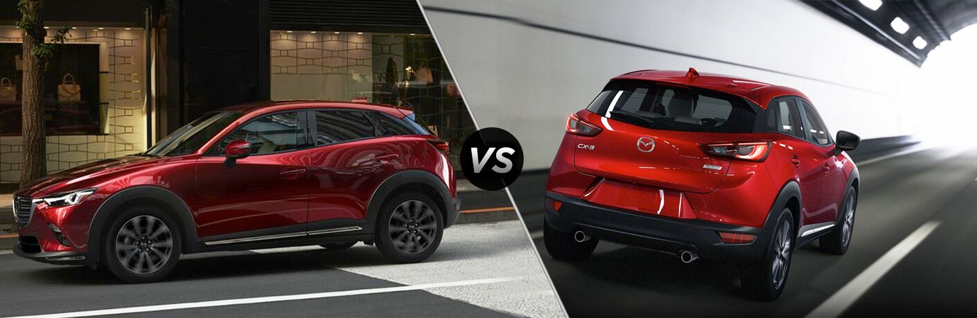 Red 2019 Mazda CX-3 Side Exterior on a City Street vs Red 2018 Mazda CX-3 Rear Exterior in a Tunnel