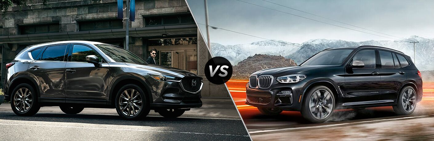 Gray 2019 Mazda CX-5 on a City Street vs Black 2019 BMW X3 on a Country Road