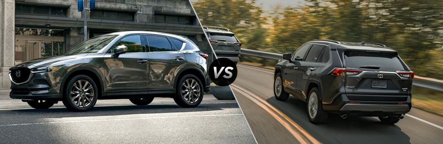 Gray 2019 Mazda CX-5 on a City Street vs Gray 2019 Toyota RAV4 Rear Exterior on a Highway