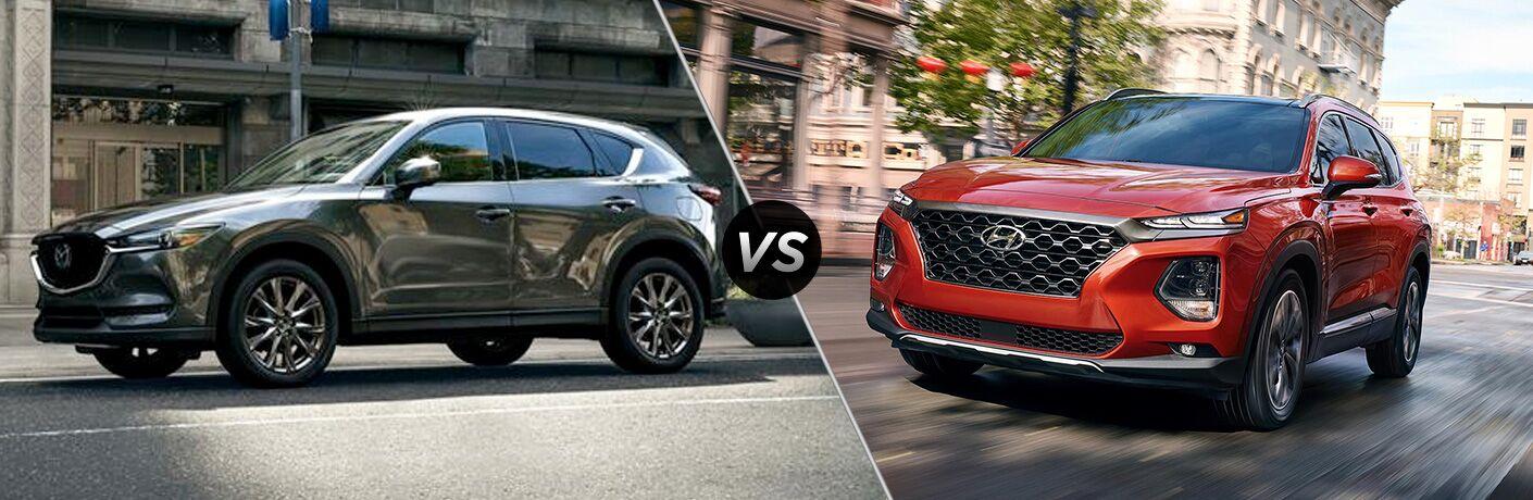 Gray 2019 Mazda CX-5 on a City Street vs Orange 2019 Hyundai Santa Fe on a City Street