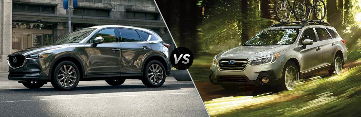 Gray 2019 Mazda CX-5 on a City Street vs White 2019 Subaru Outback on the Trail