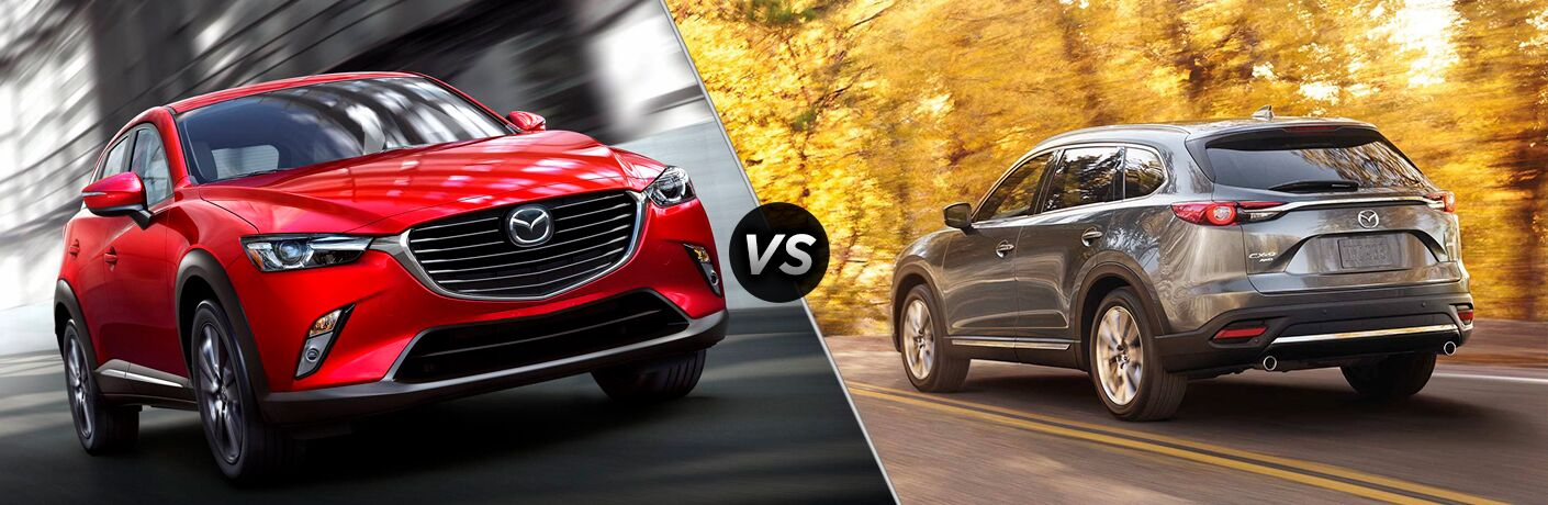 Red 2019 Mazda CX-9 Front on City Street vs Gray 2018 Mazda CX-9 Rear on Country Road in Fall