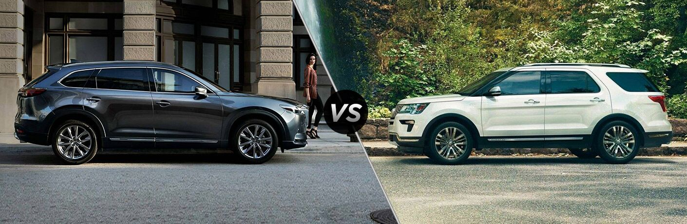 Gray 2019 Mazda CX-9 on City Street vs White 2019 Ford Explorer in a Driveway