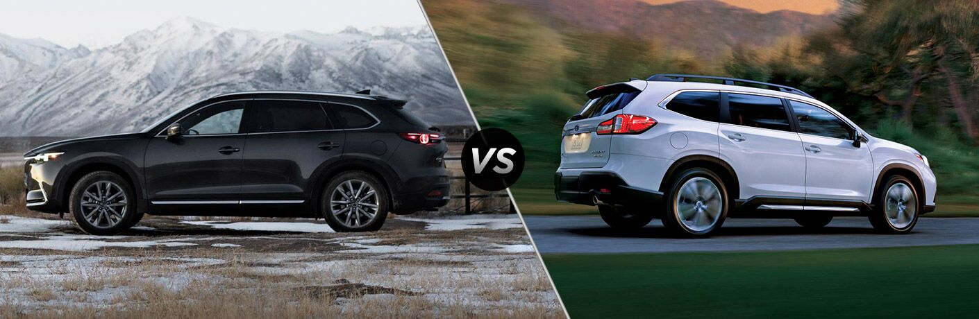 Black 2019 Mazda CX-9 on Mountain Trail vs White 2019 Subaru Ascent on Highway