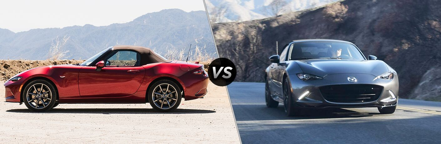 Red 2019 Mazda MX-5 Miata Side Exterior in the Desert vs Gray 2018 Mazda MX-5 Miata on a Country Road