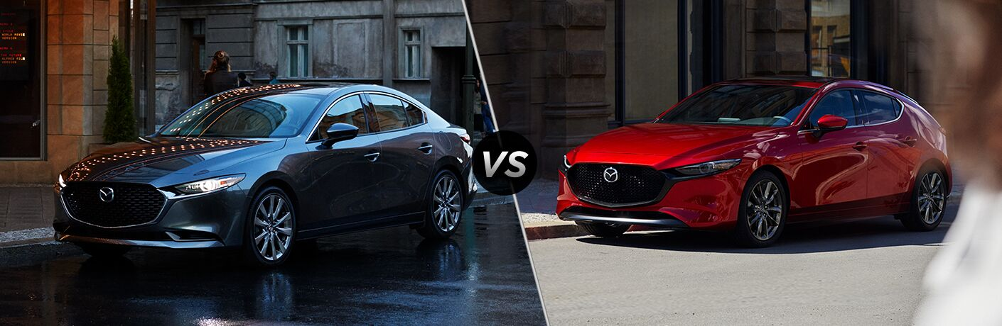 Gray 2019 Mazda3 Sedan on a City Street vs Red 2019 Mazda3 Hatchback on a City Street
