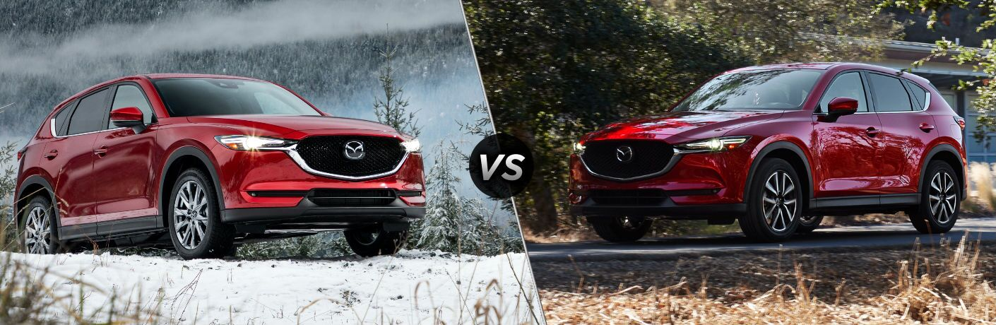 Red 2019 Mazda CX-5 in Snowy Field vs Red 2018 Mazda CX-5 on a Country Road