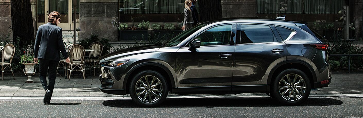 Gray 2020 Mazda CX-5 Side Exterior on a City Street