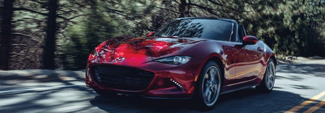 Red 2020 Mazda MX-5 Miata on a Country Road