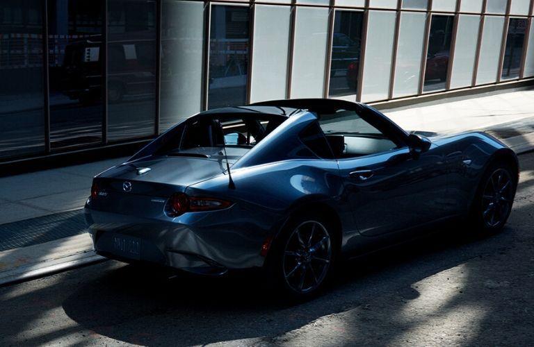 Gray 2020 Mazda MX-5 Miata RF Rear Exterior on a City Street