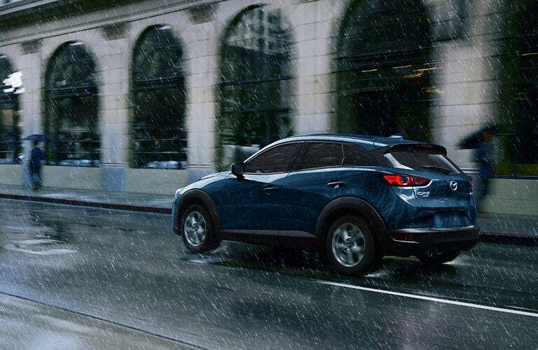 Blue 2021 Mazda CX-3 Rear Exterior in the Rain
