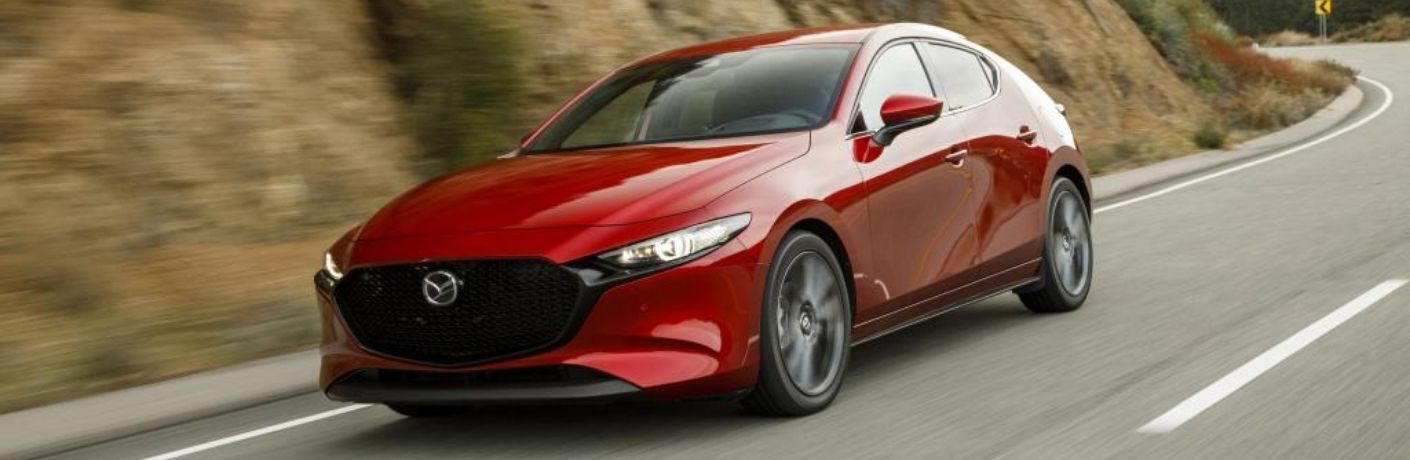 Red 2021 Mazda3 2.5 Turbo Front Exterior on Country Road