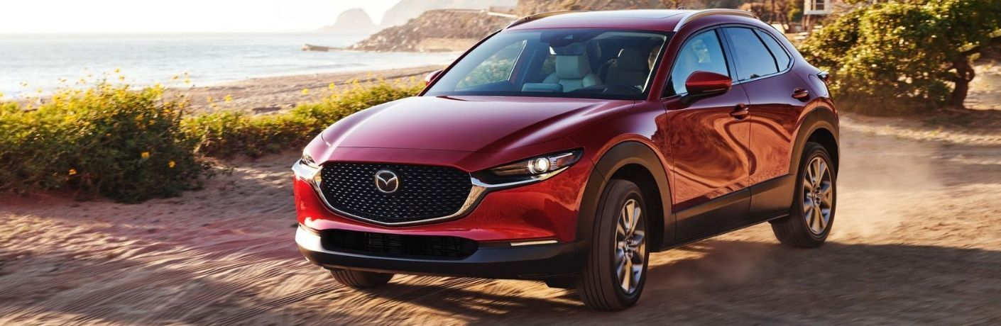 Red 2021 Mazda CX-30 Front Exterior on a Beach