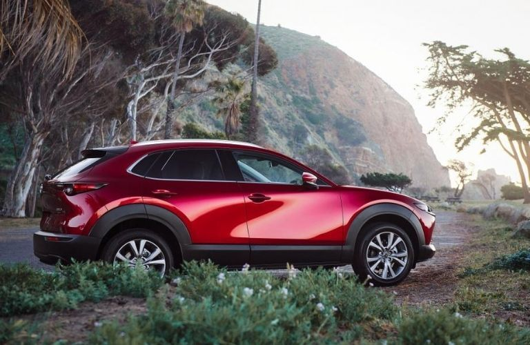 Red 2021 Mazda CX-30 Side Exterior on Dirt Road