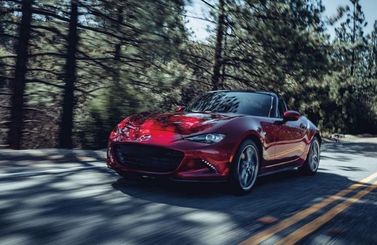 Red 2021 Mazda MX-5 Miata Front Exterior on a Country Road
