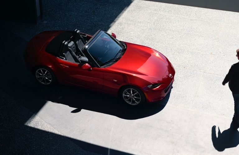 Overhead View of Red 2021 Mazda MX-5 Miata with Top Down