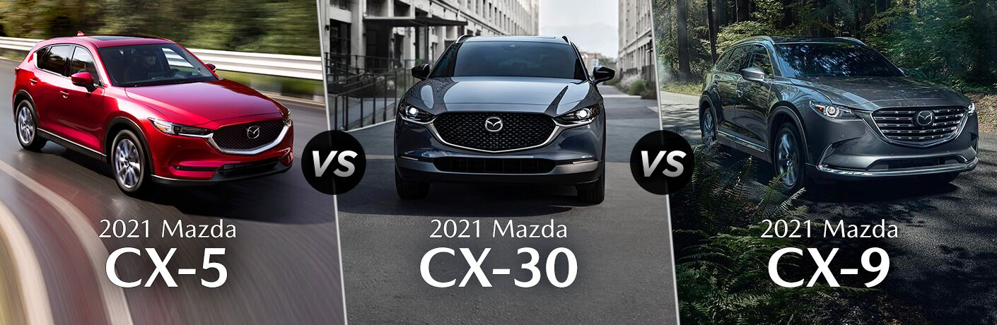 Red 2021 Mazda CX-5 on a Highway vs Blue 2021 Mazda CX-30 on City Street vs Gray 2021 Mazda CX-9 in the Forest with White Model Name Text