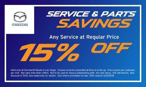 Save 15% on your Service at Earnhardt Mazda in Las Vegas