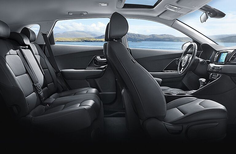 2018 Kia Niro interior side shot 2-row seating upholstery