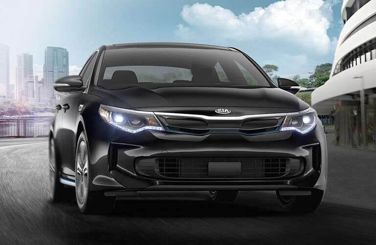 2018 Kia Optima Plug-In Hybrid exterior front shot of black finish, fascia, and grille