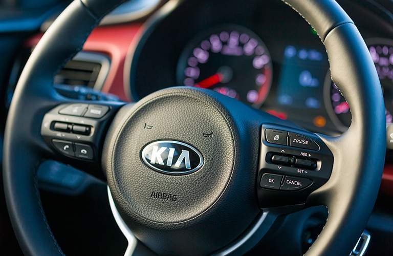 2018 Kia Rio close up of Kia steering wheel
