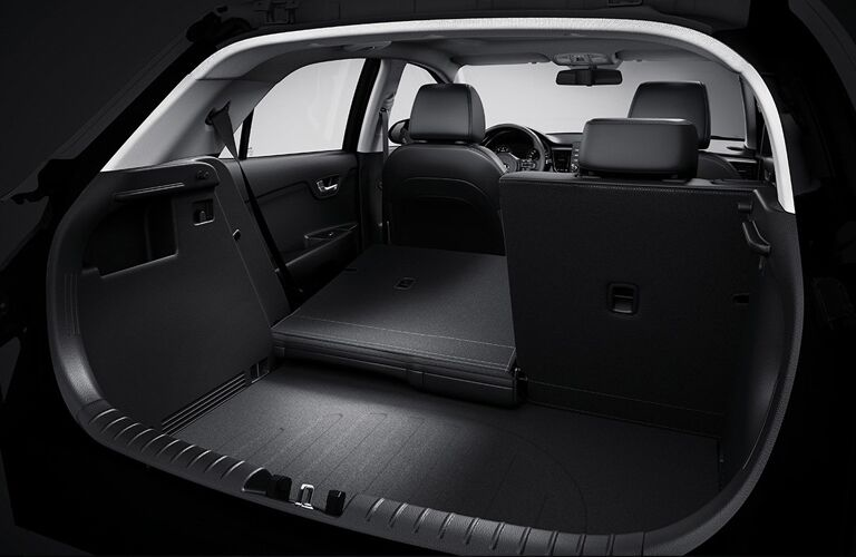 2019 Kia Rio 5-Door Hatchback interior shot of cargo space and adjustable seating
