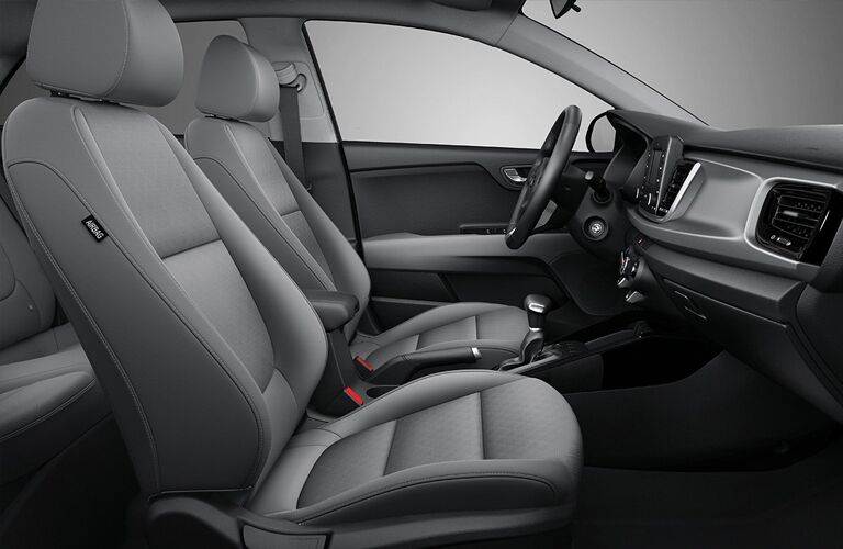 2019 Kia Rio 5-Door Hatchback interior side shot of front seating upholstery and cabin design