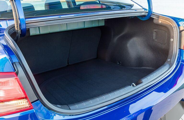 2019 Kia Rio exterior rear shot closeup of open trunk to show cargo capacity