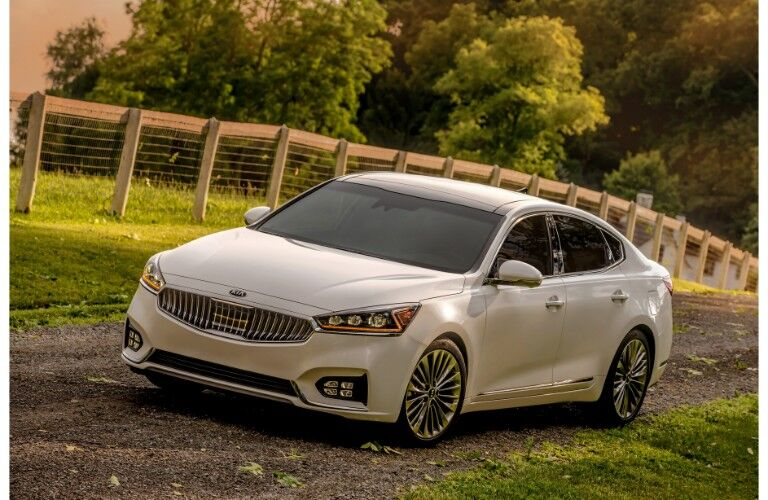 2019 Kia Cadenza exterior shot with white paint color parked on a dirt gravel road in the country near a wired and wooden fence