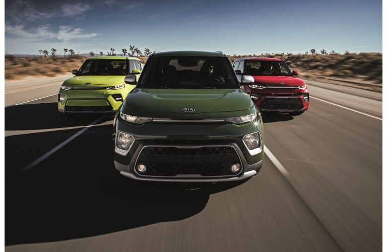 2020 Kia Soul GT-Line, X-Line, and EV models exterior front shot driving down a desert highway