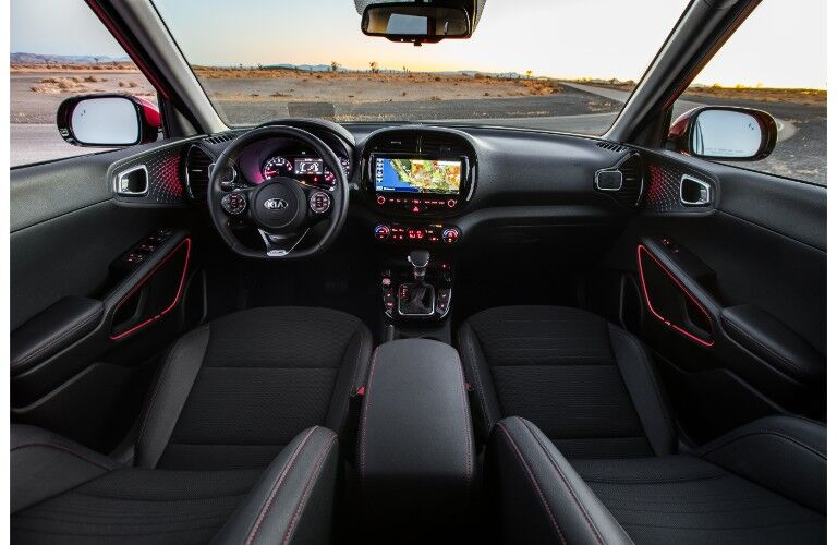 2020 Kia Soul GT-Line interior shot of front seating, steering wheel, and dashboard layout and design