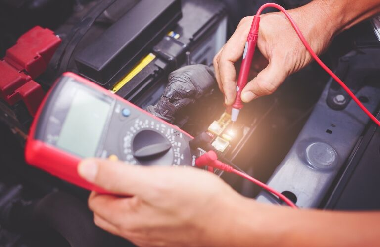 Checking a battery with a multi meter
