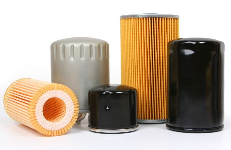 Oil filters on a white background