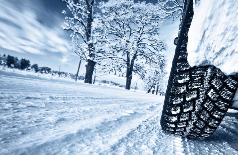 Tire in deep snow