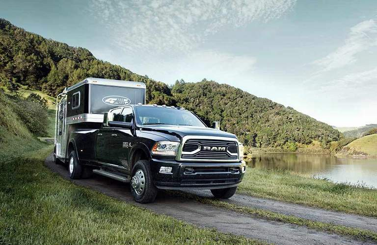 2018 RAM 3500 exterior front black towing trailer