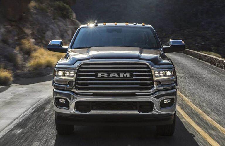 2019 RAM Heavy Duty black front view grille closeup