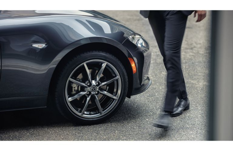 2019 Mazda MX-5 Miata RF exterior side shot closeup of front tire and wheel design