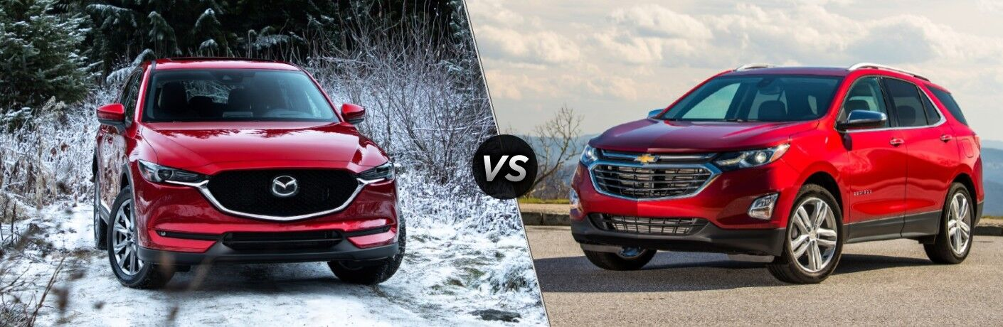 A red 2020 Mazda CX-5 compared to a red 2020 Chevrolet Equinox.