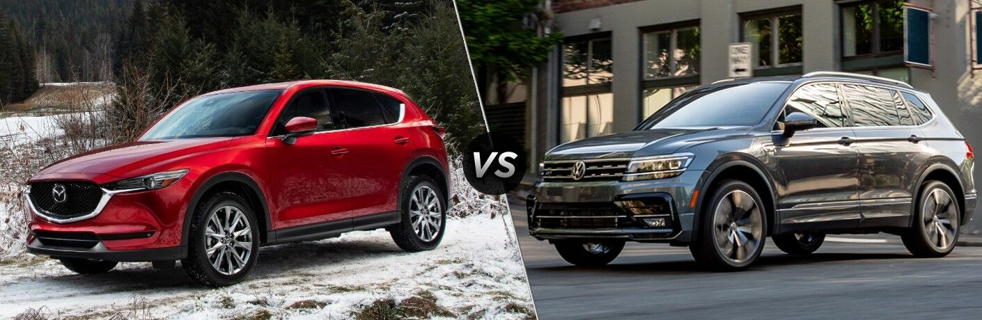 A red 2020 Mazda CX-5 compared to a gray 2020 Volkswagen Tiguan.