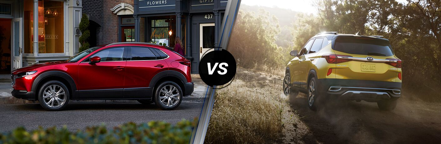 A red 2020 Mazda CX-30 compared to a green 2021 Kia Seltos.