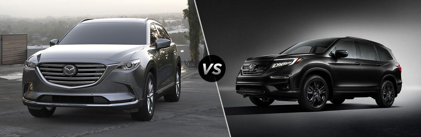 A gray 2020 Mazda CX-9 compared to a black 2020 Honda Pilot.