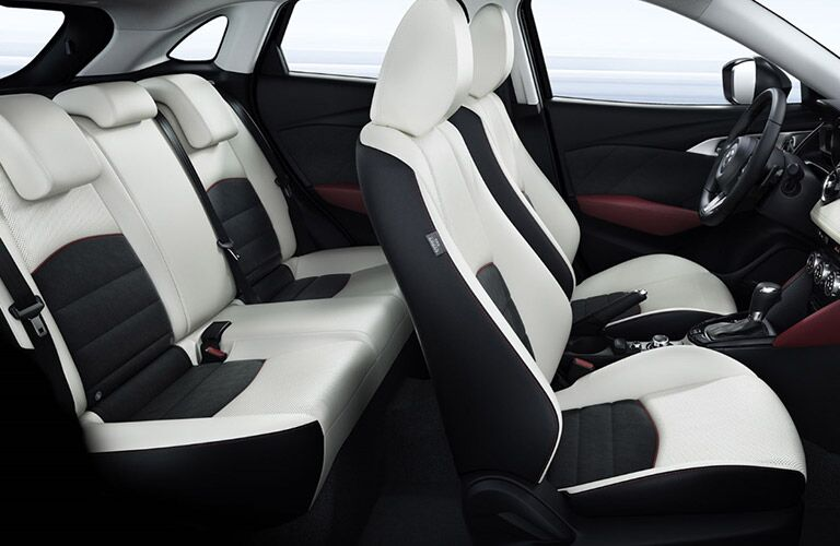 2018 Mazda CX-3 interior side shot of 2-row seating upholstery