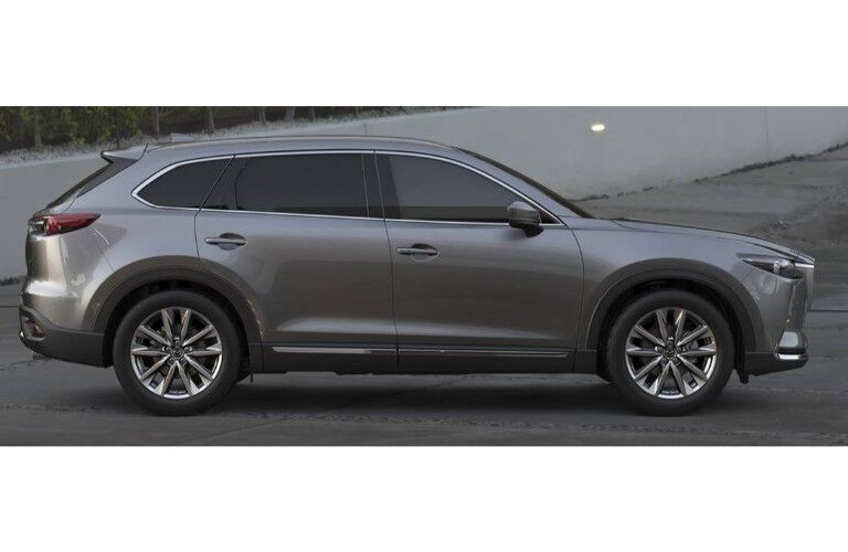 2019 Mazda CX-9 exterior side shot profile with gray metallic paint job