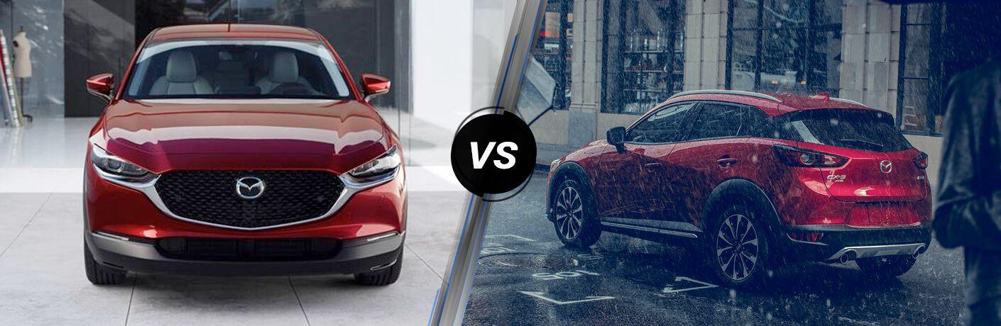 A red 2020 mazda CX-30 vs a red 2020 Mazda CX-3.