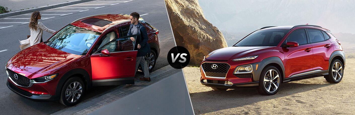 A red 2020 Mazda CX-30 compared to a red 2020 Hyundai Kona.
