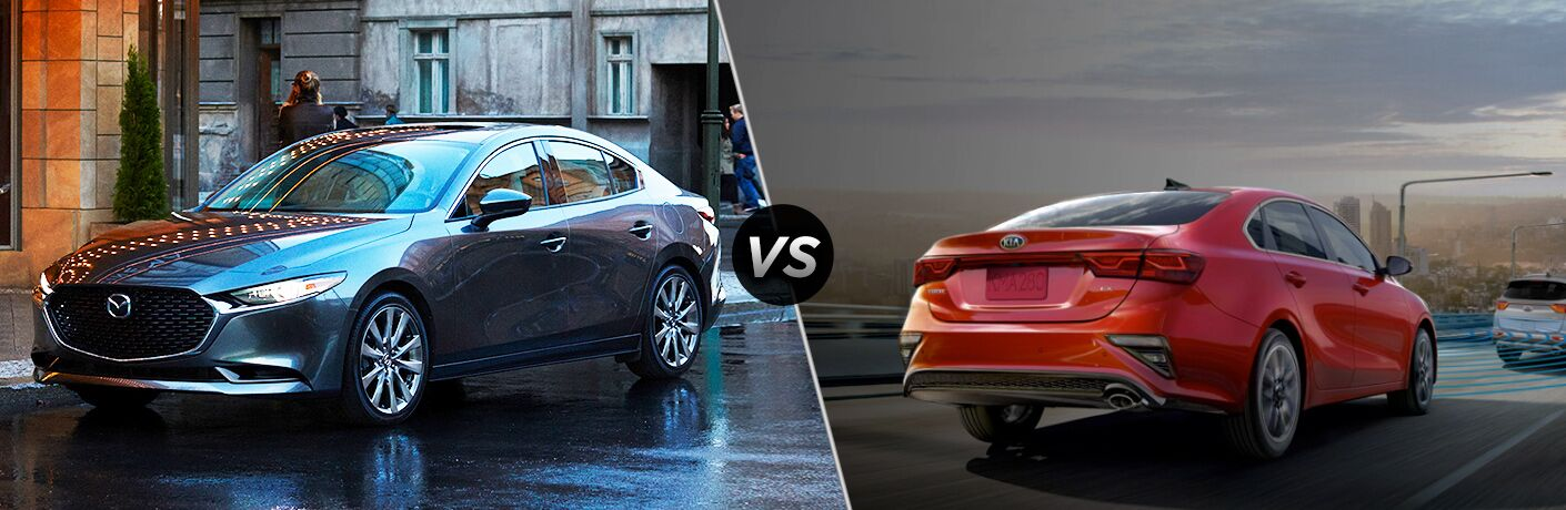 A gray 2020 Mazda3 Sedan compared to a red 2020 Kia Forte.