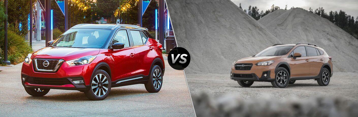 2018 Nissan Kicks Vs. 2018 Subaru Crosstrek image with split screen comparison of the two
