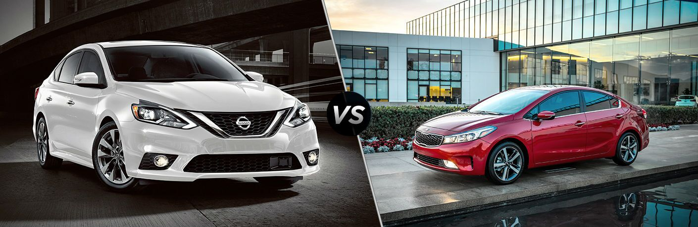 2018 nissan sentra and 2018 kia forte shown on split screen image